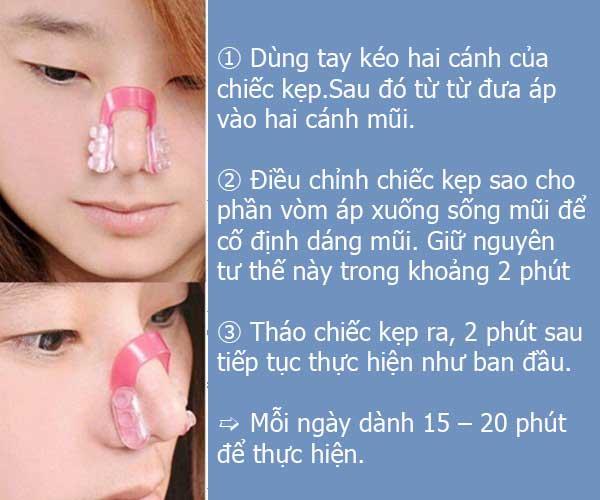 cách sử dụng kẹp nâng mũi