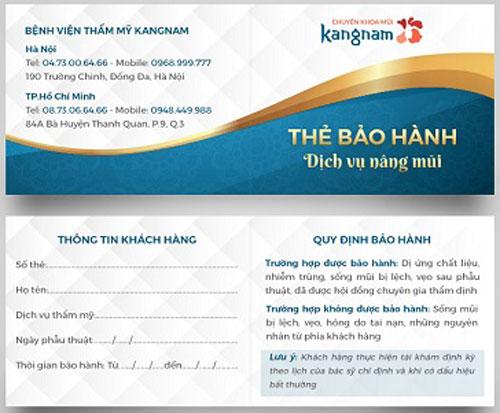 chế độ bảo hành khi nâng mũi tại Kangnam 1